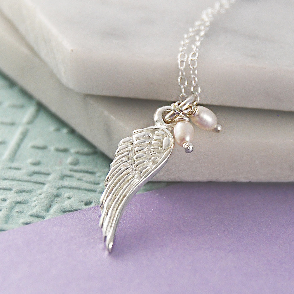 Pearl and Silver Angel Wing Necklace