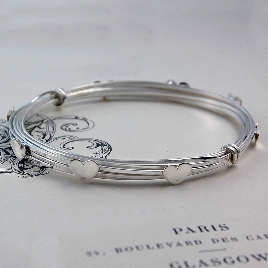 Wire Silver Heart Bangle - Otis Jaxon Silver Jewellery