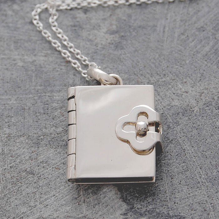 Silver Book Necklace