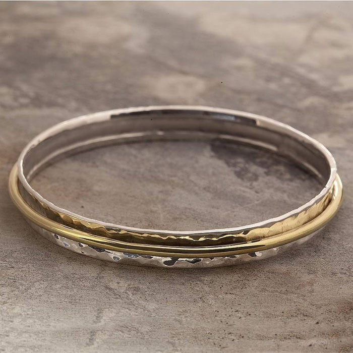 Cone Gold Hammered Silver Bangle