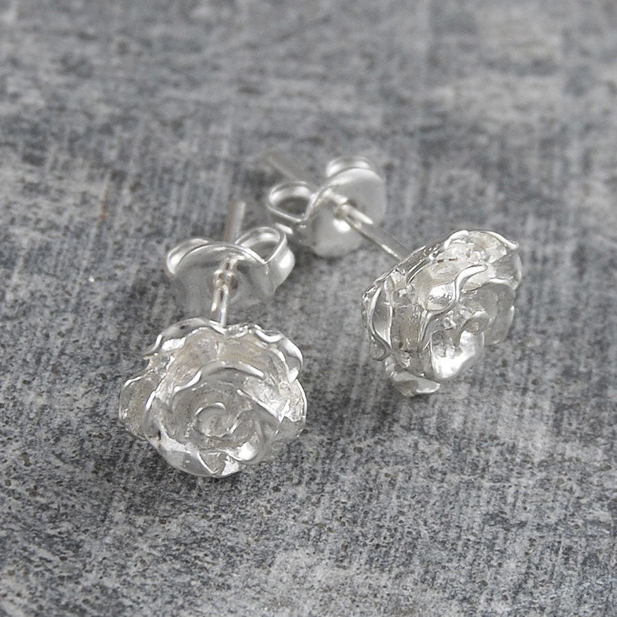 Silver Rose Flower Stud Earrings