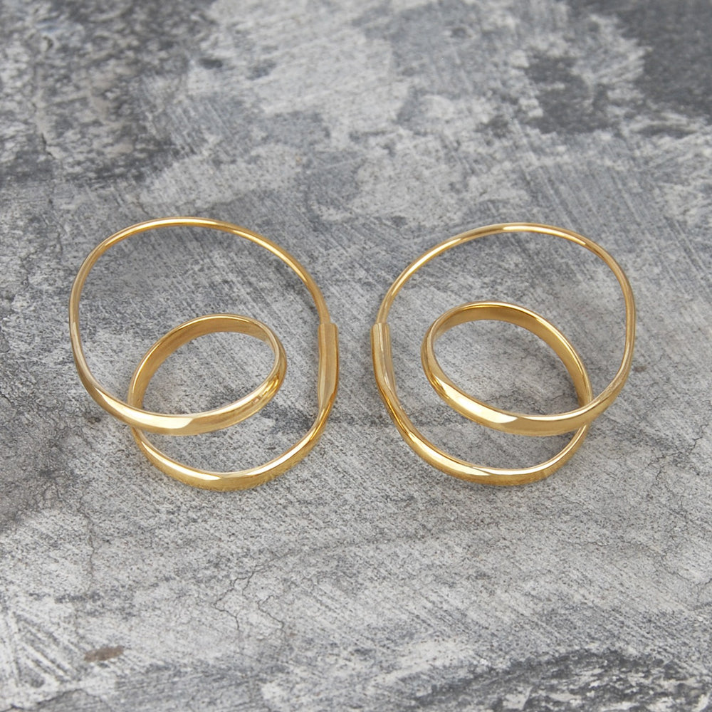 Double Loop Gold Hoop Earrings