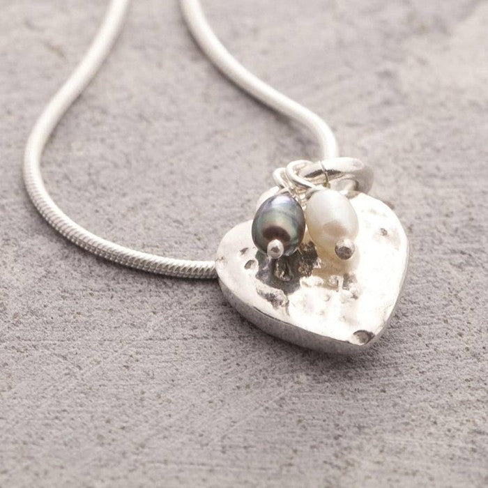 Organic Silver Heart Pendant Necklace