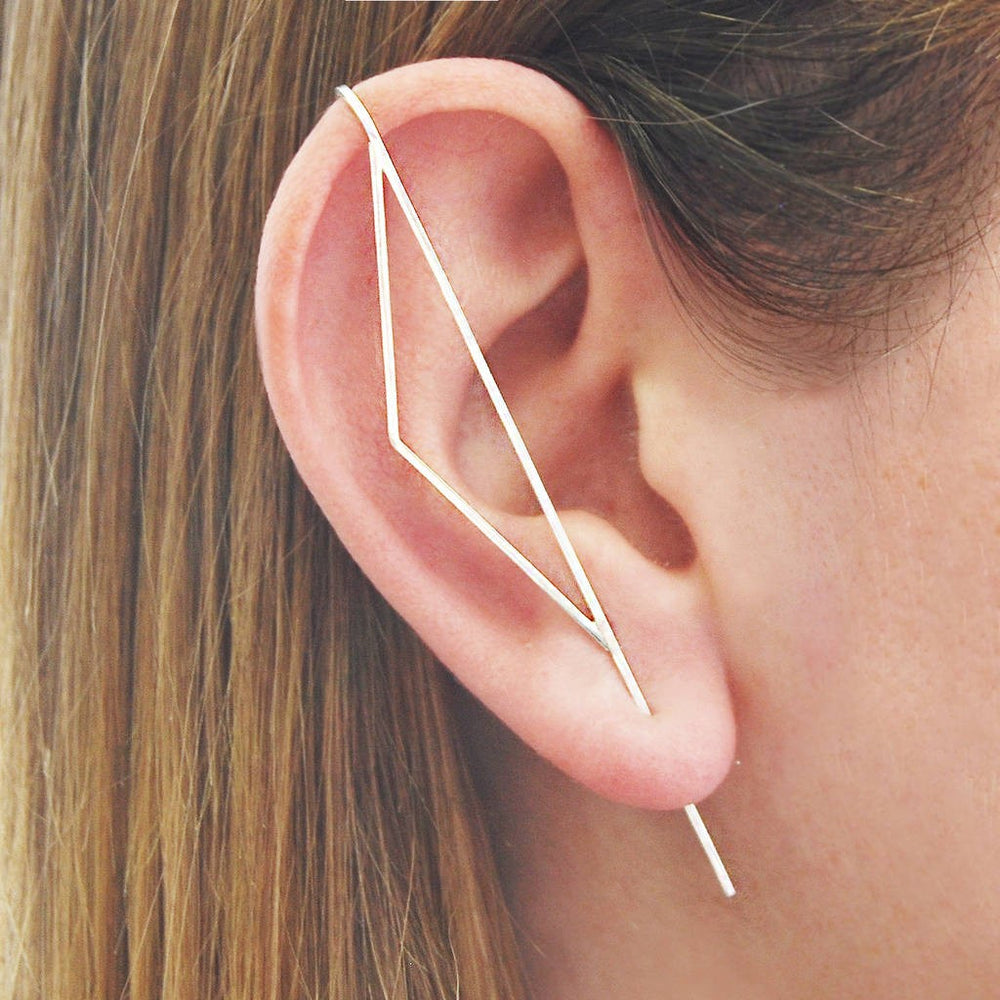 Silver Triangle Ear Cuff Earrings - Otis Jaxon Silver Jewellery