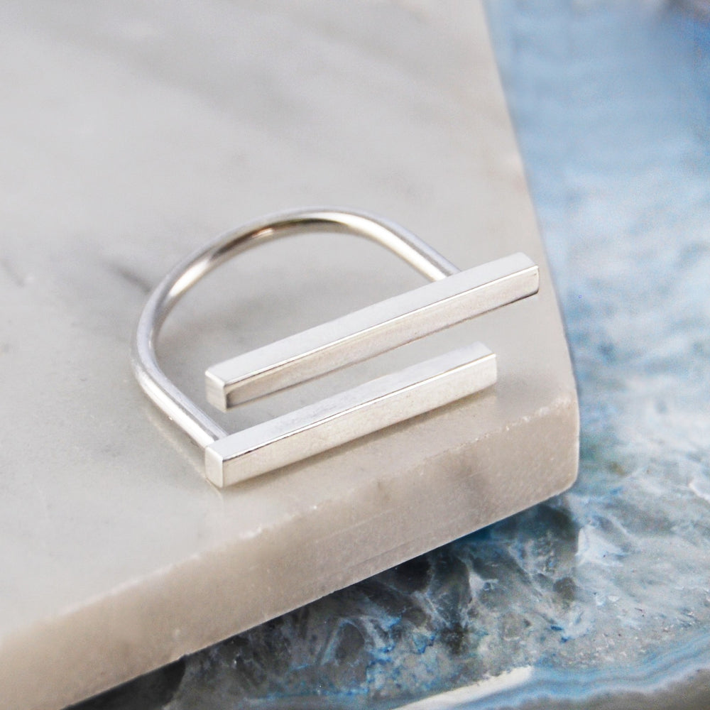 Horizontal Bar Geometric Silver Ring