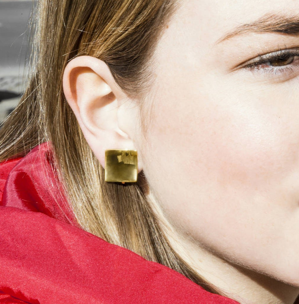 Polished Gold Square Clip On Earrings