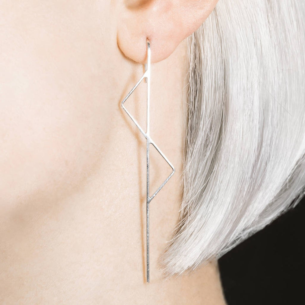 Silver Kite Long Drop Earrings