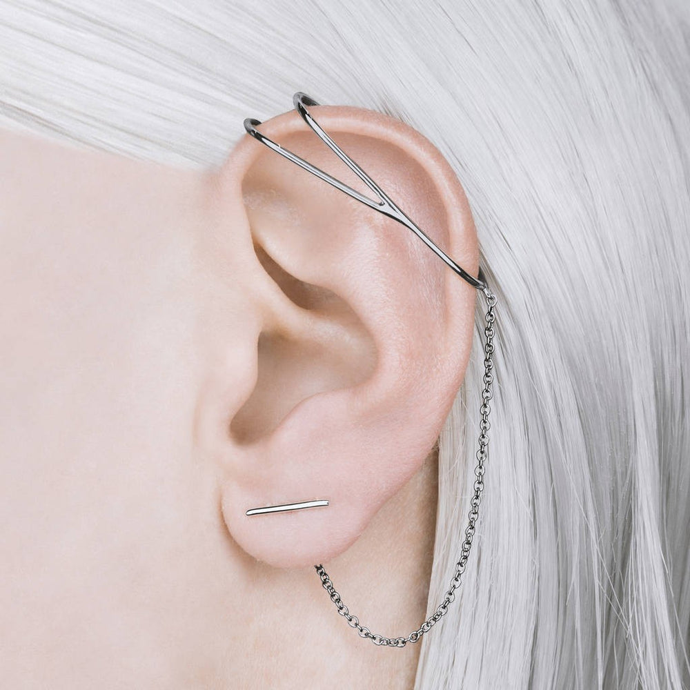 Oxidised Silver Chain Ear Cuff Earrings