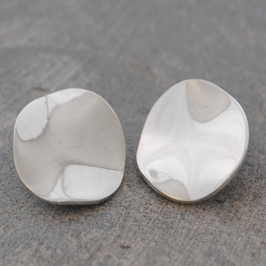 Wavy Disc Silver Clip On Stud Earrings - Otis Jaxon Silver Jewellery