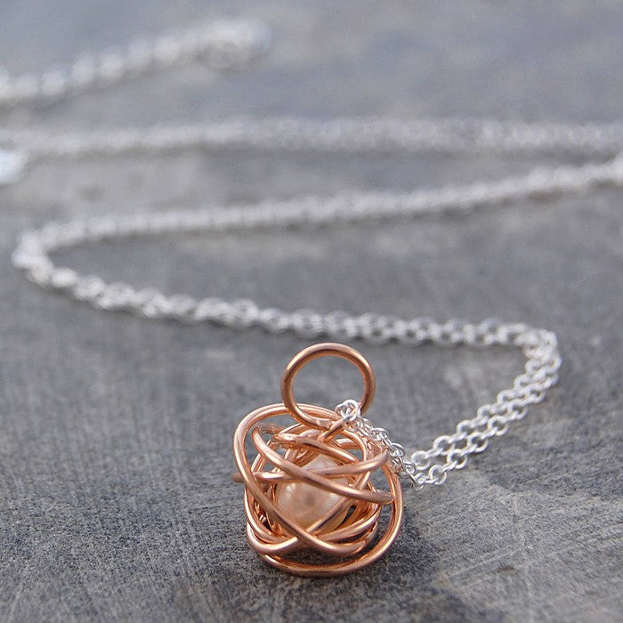 Caged Pearl Rose Gold Chain Necklace - Otis Jaxon Silver Jewellery