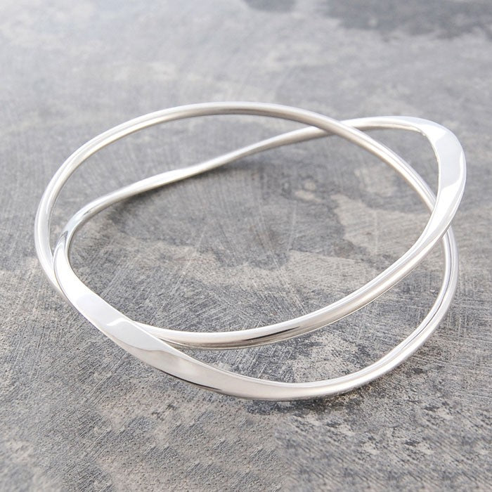 Interwoven Contemporary Silver Bangle