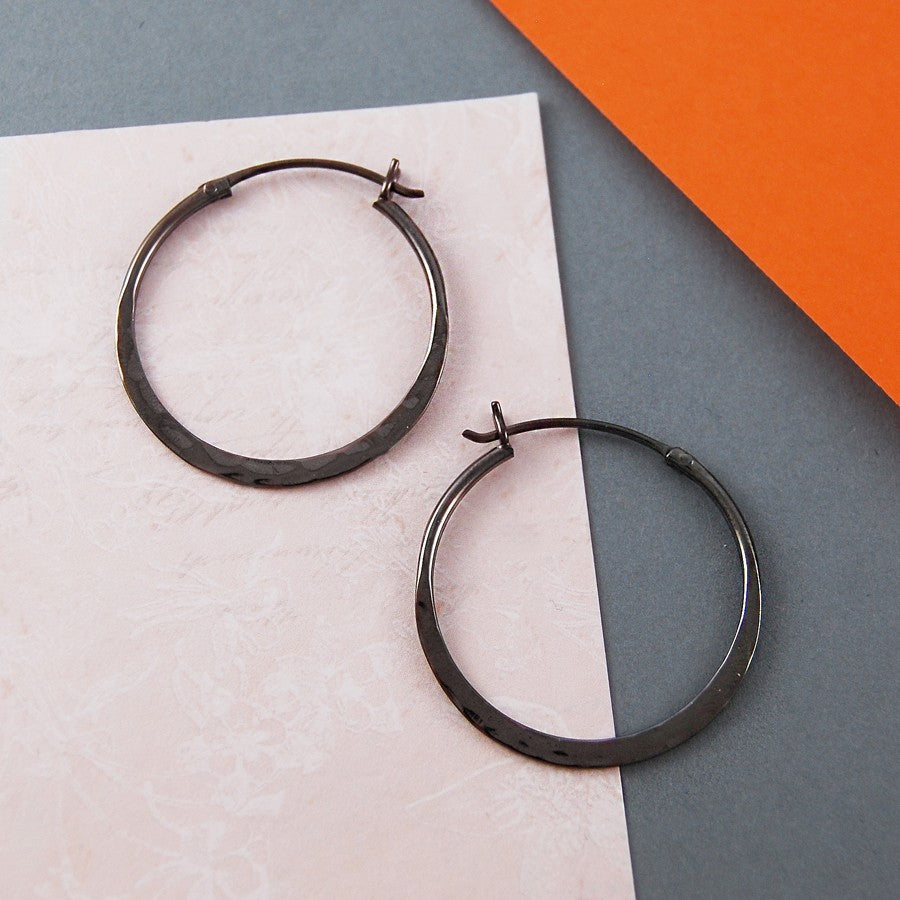 Oxidised Silver Small Hoop Earrings