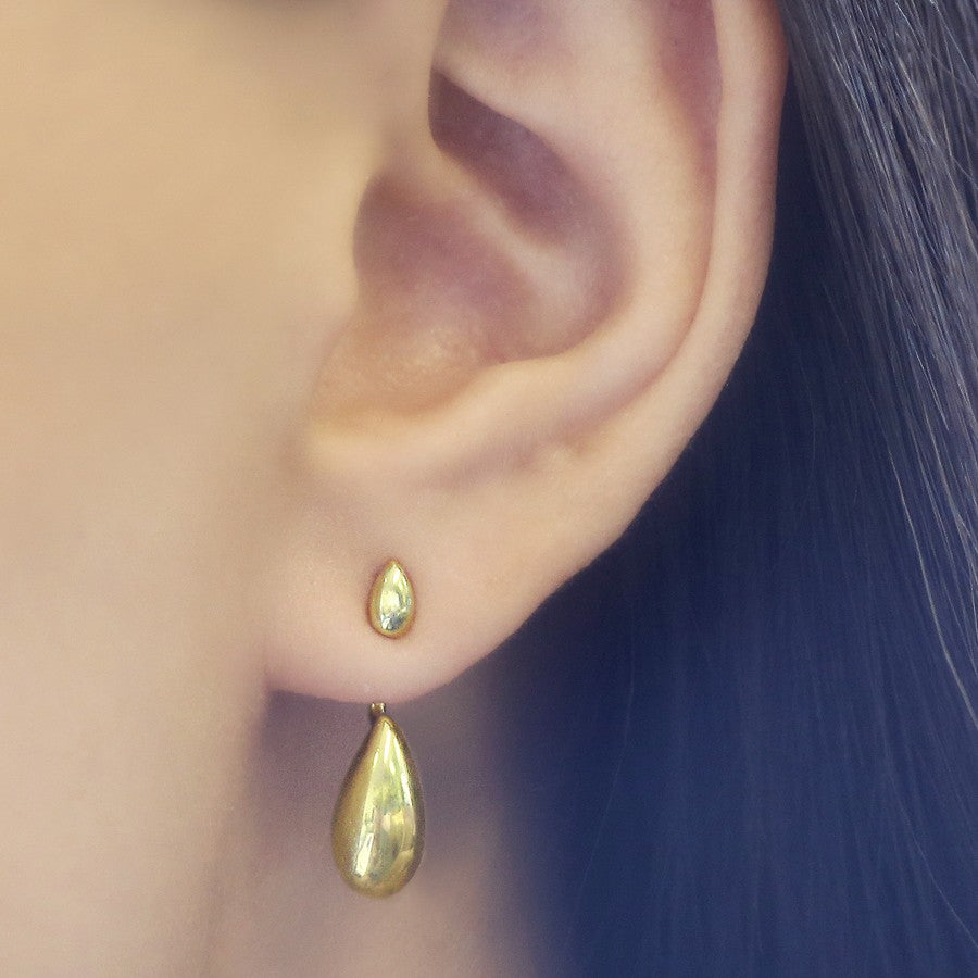 Tear Drop Gold Ear Jacket - Otis Jaxon Silver Jewellery