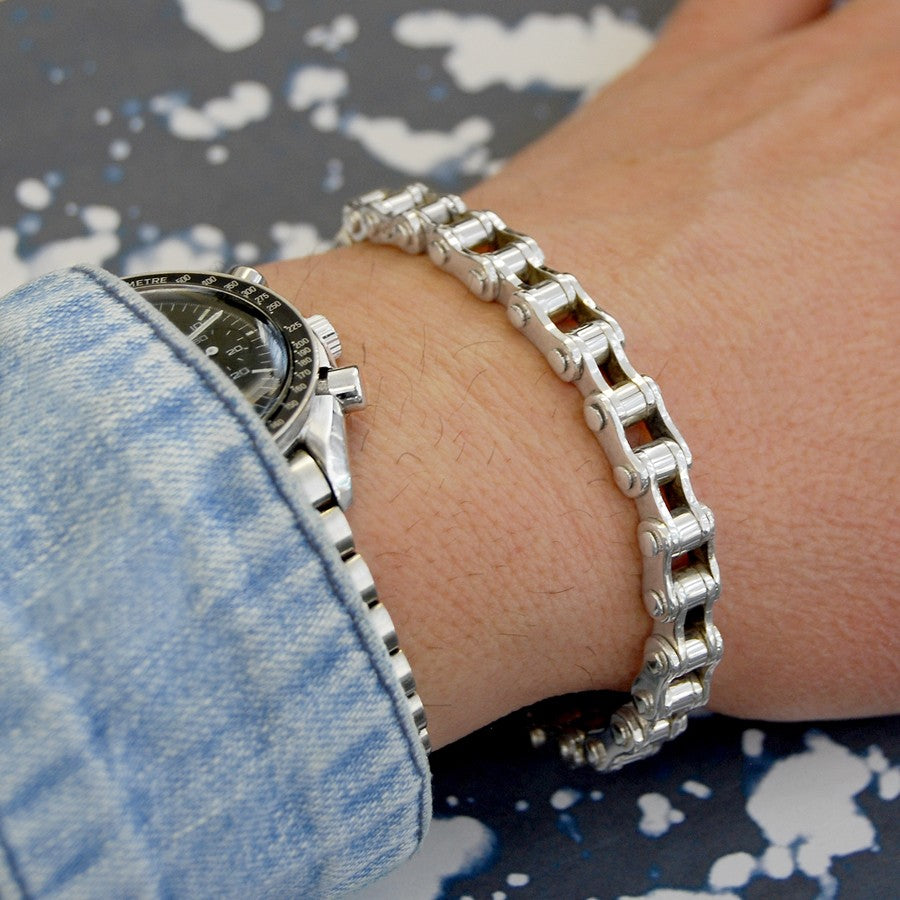 Mens Silver Bike Chain Bracelet - Otis Jaxon Silver Jewellery