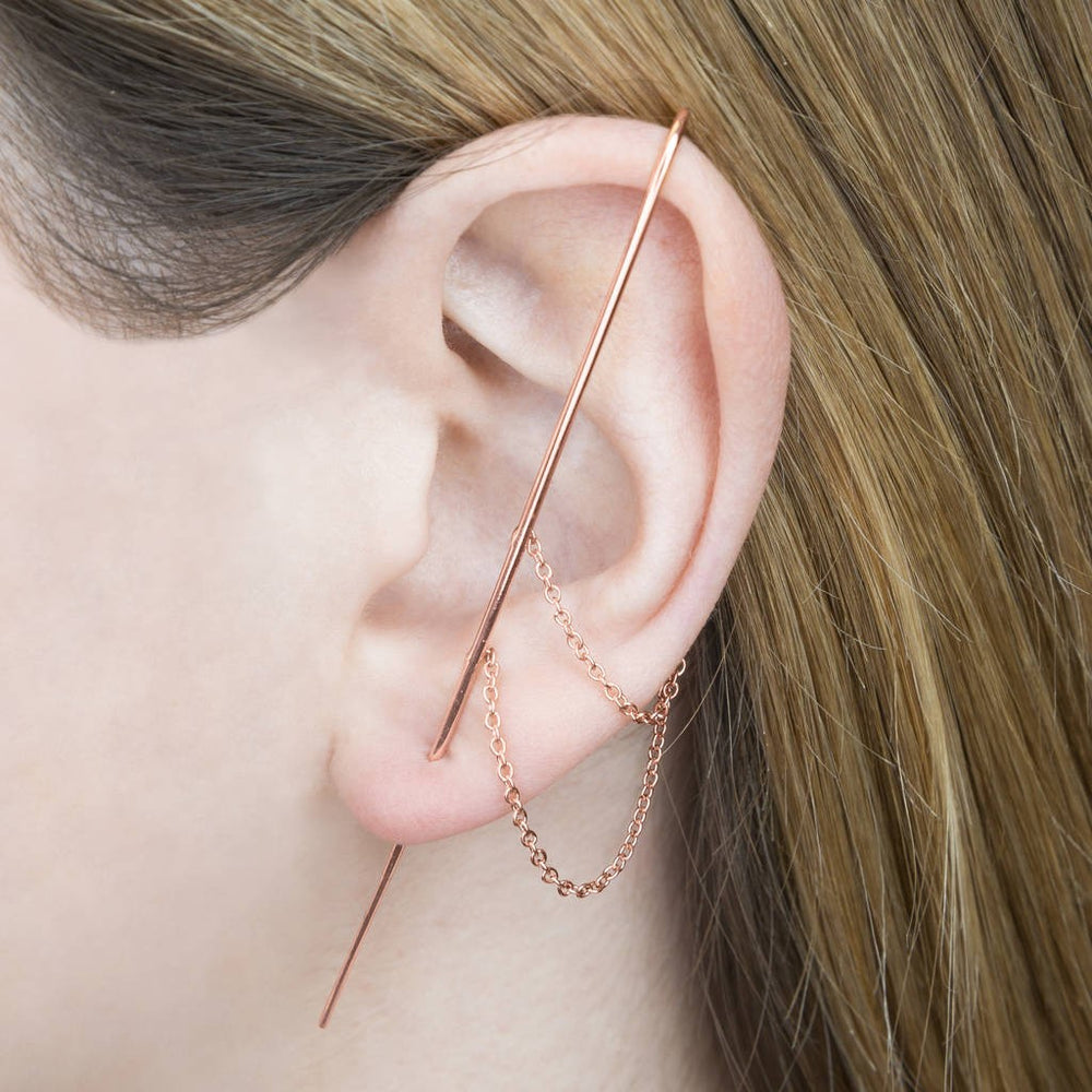 Rose Gold Delicate Chain Ear Cuff Earrings
