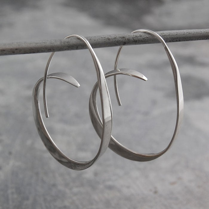 Tapered Silver Hoop Earrings