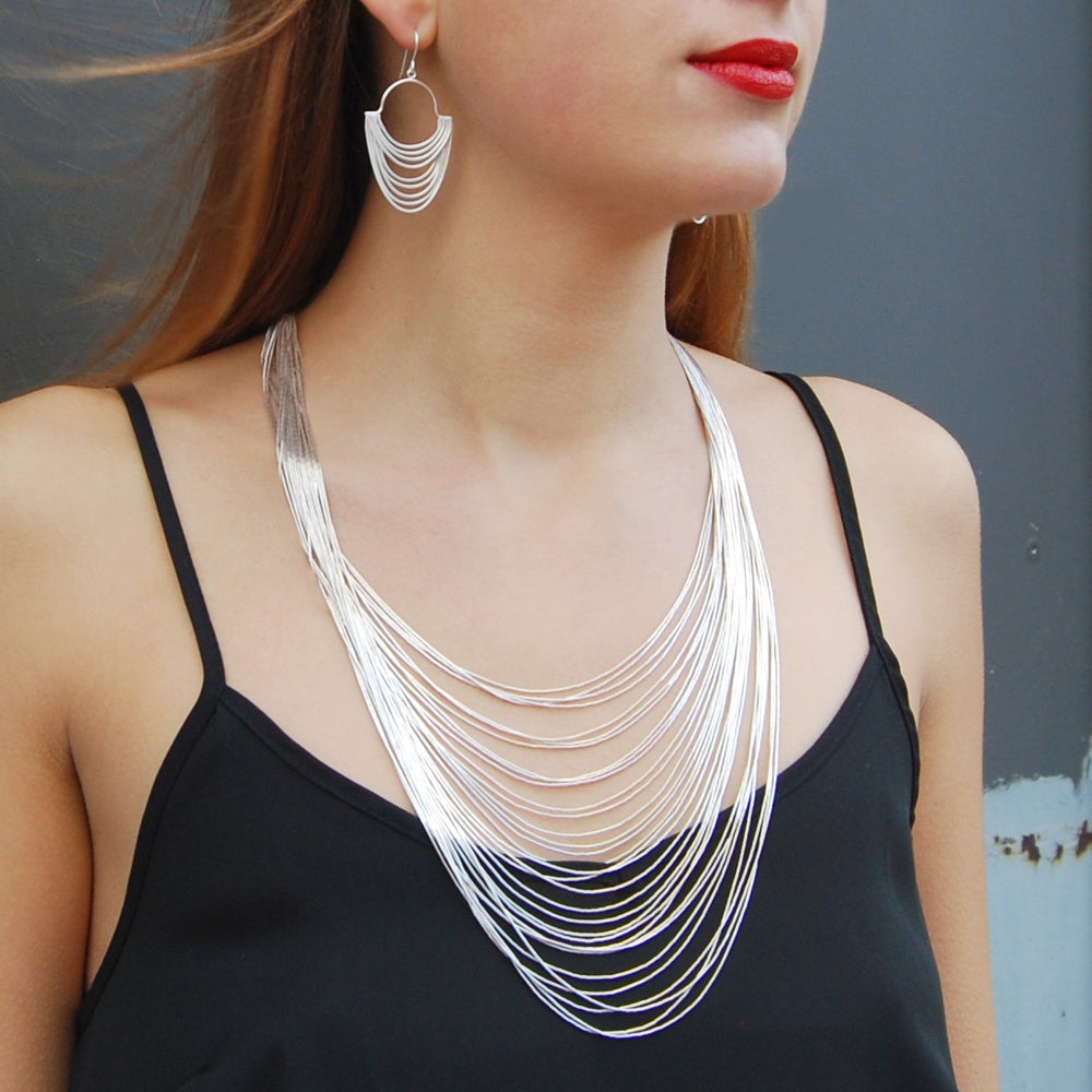 Graduated Layered Silver Necklace - 30 Strands