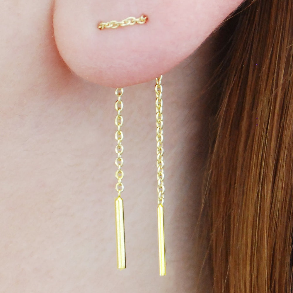Threader Rose Gold Drop Earrings