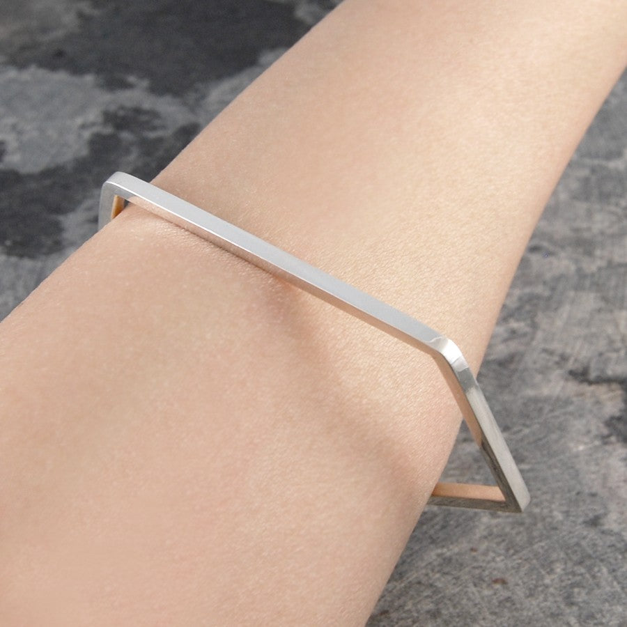 Pentagon Geometric Contemporary Silver Bangle