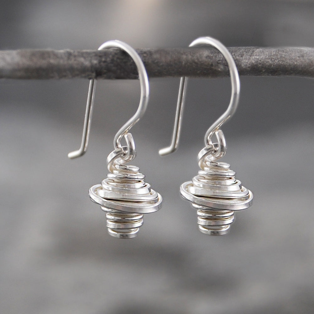 Coiled Silver Drop Earrings