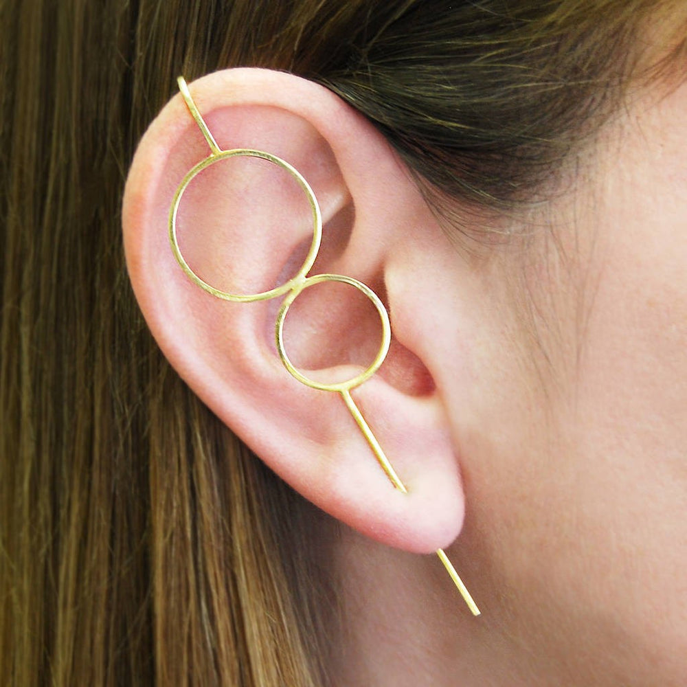 Gold Double Circle Ear Crawlers