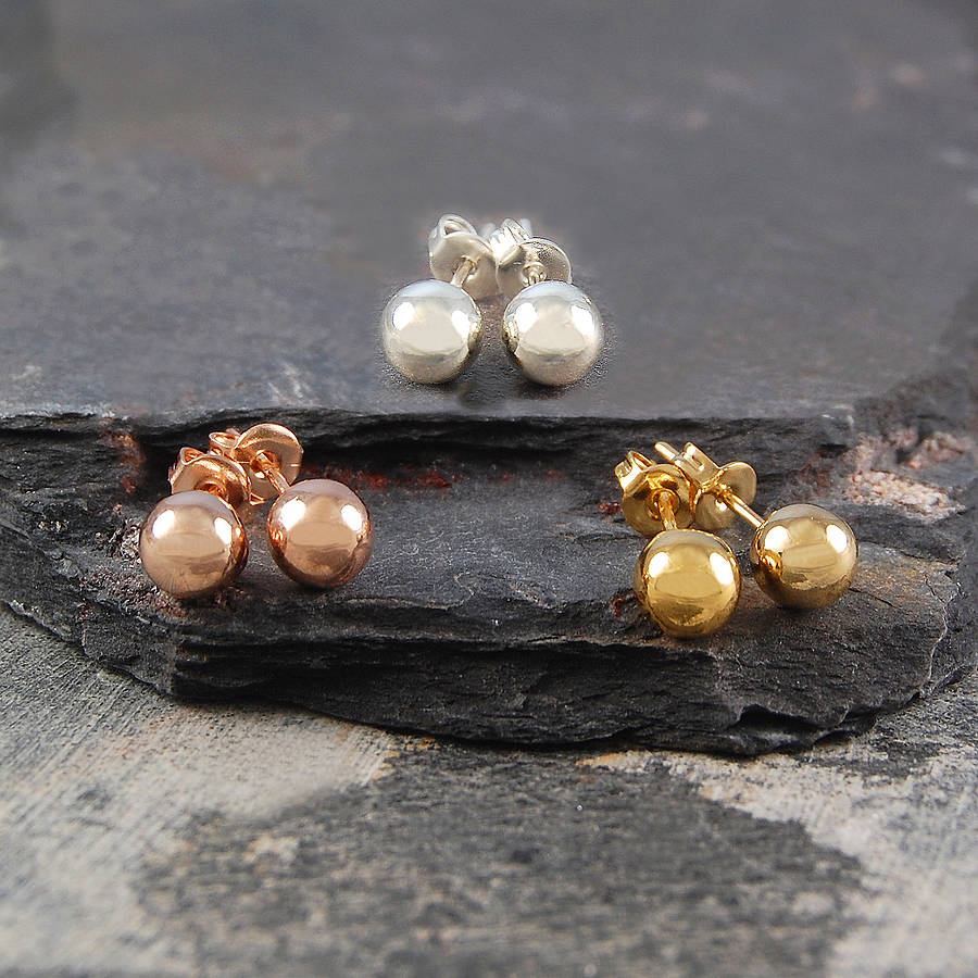 Ball Round Gold And Silver Stud Earrings