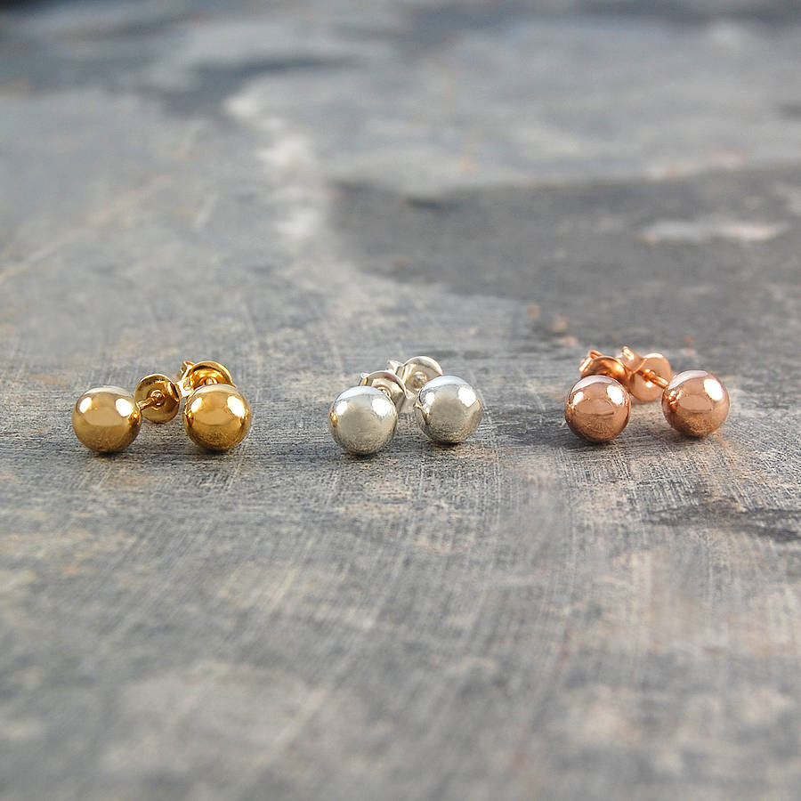Ball Round Gold And Silver Stud Earrings - Otis Jaxon Silver Jewellery