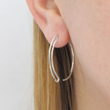 Rose Gold Geometric Round Wire Hoop Earrings - Otis Jaxon Silver Jewellery