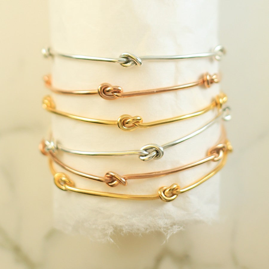 Nautical Knot Gold Stacking Bangle - Otis Jaxon Silver Jewellery
