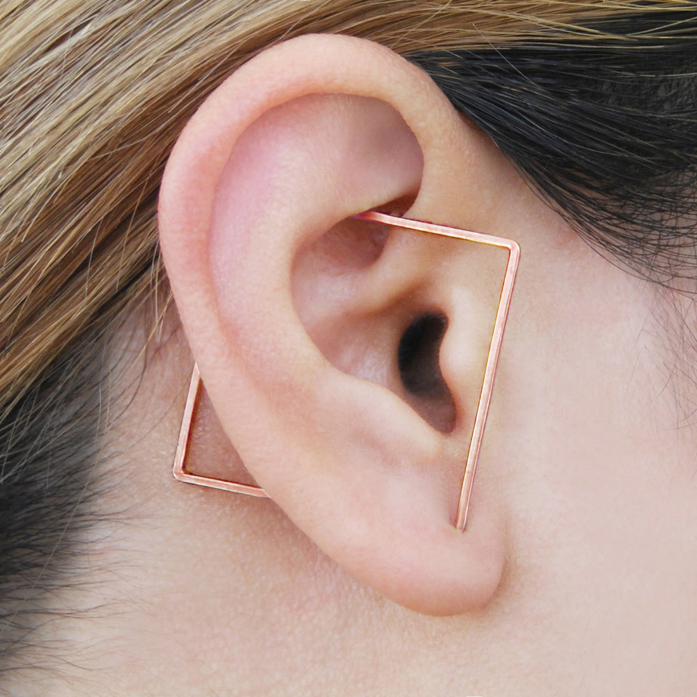 Rose Gold Square Ear Cuff Earrings