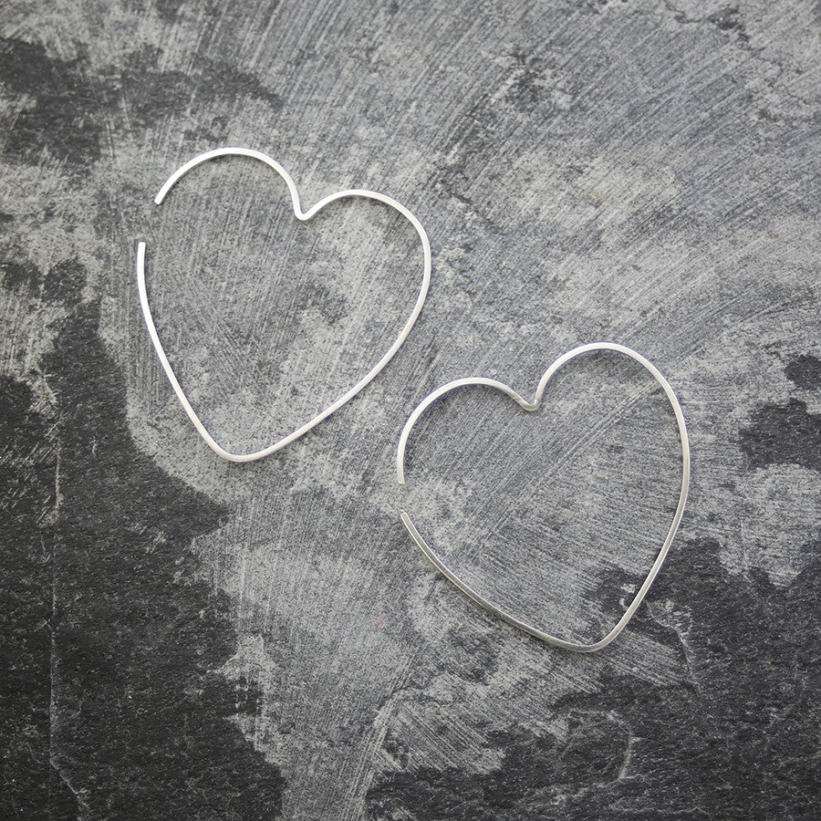 Heart Silver Ear Cuffs