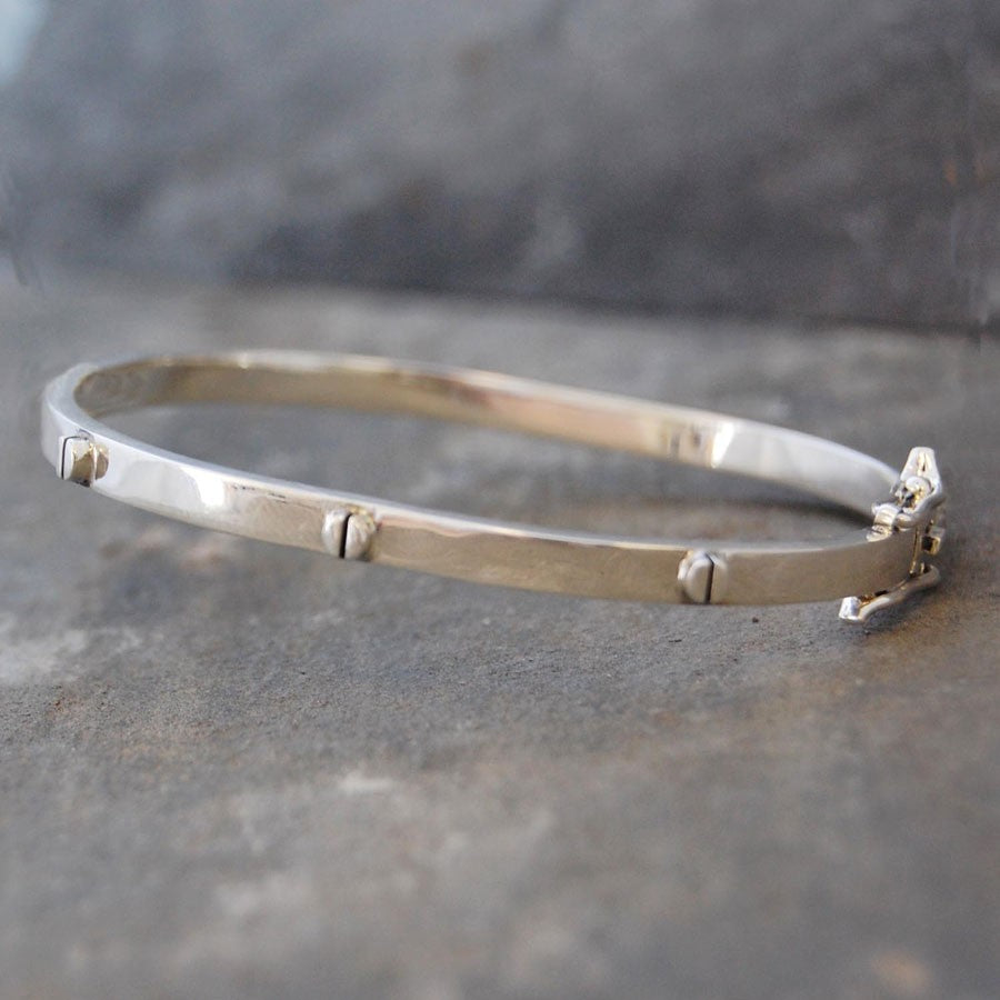 Silver and Gold Raised Screw Bangle
