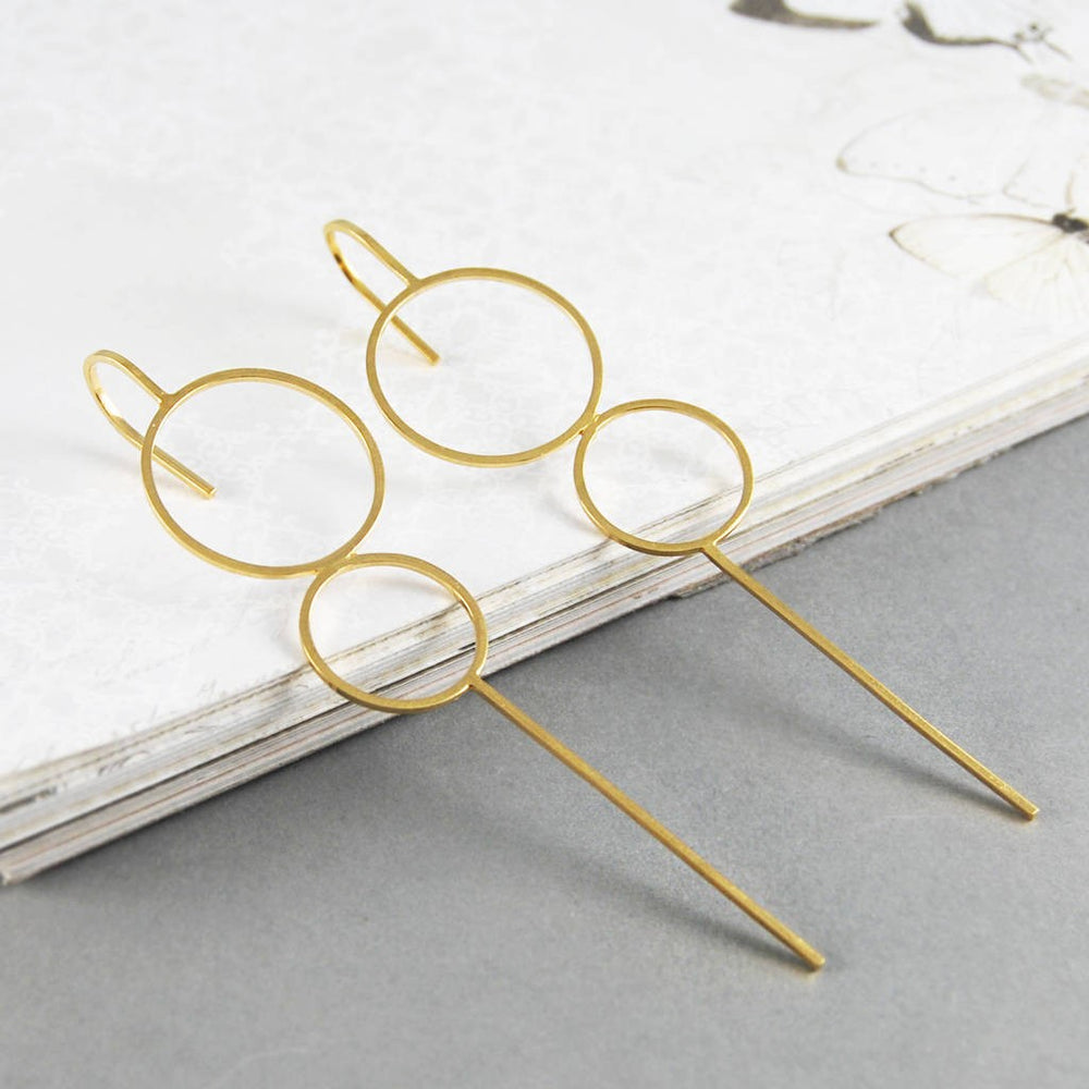 Gold Double Circle Ear Crawlers - Otis Jaxon Silver Jewellery