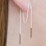 Threader Chain Earrings in Silver and Black - Otis Jaxon Silver Jewellery