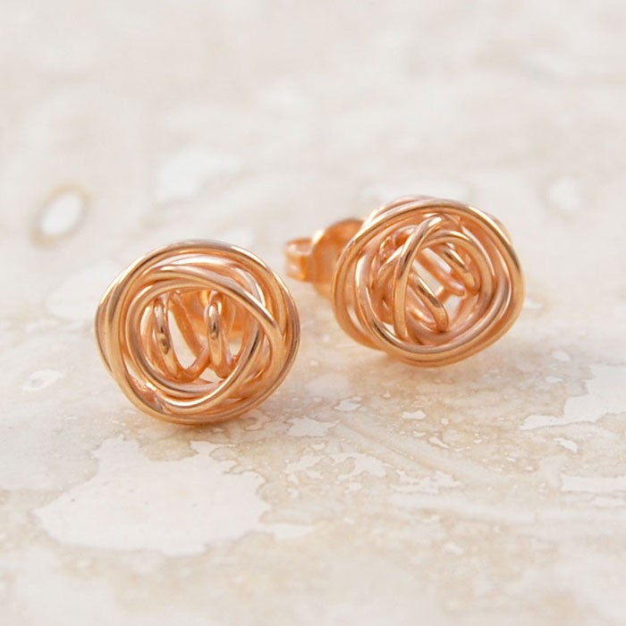 Nest Rose Gold Stud Earrings