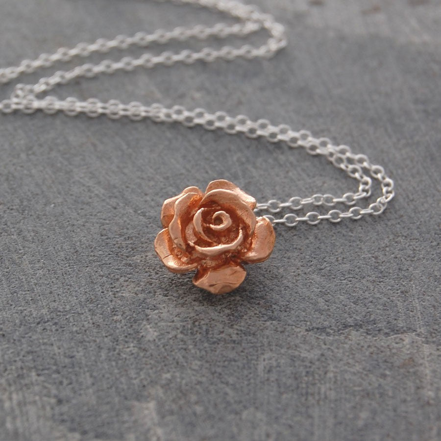 Rose Flower Silver and Rose Gold Pendant