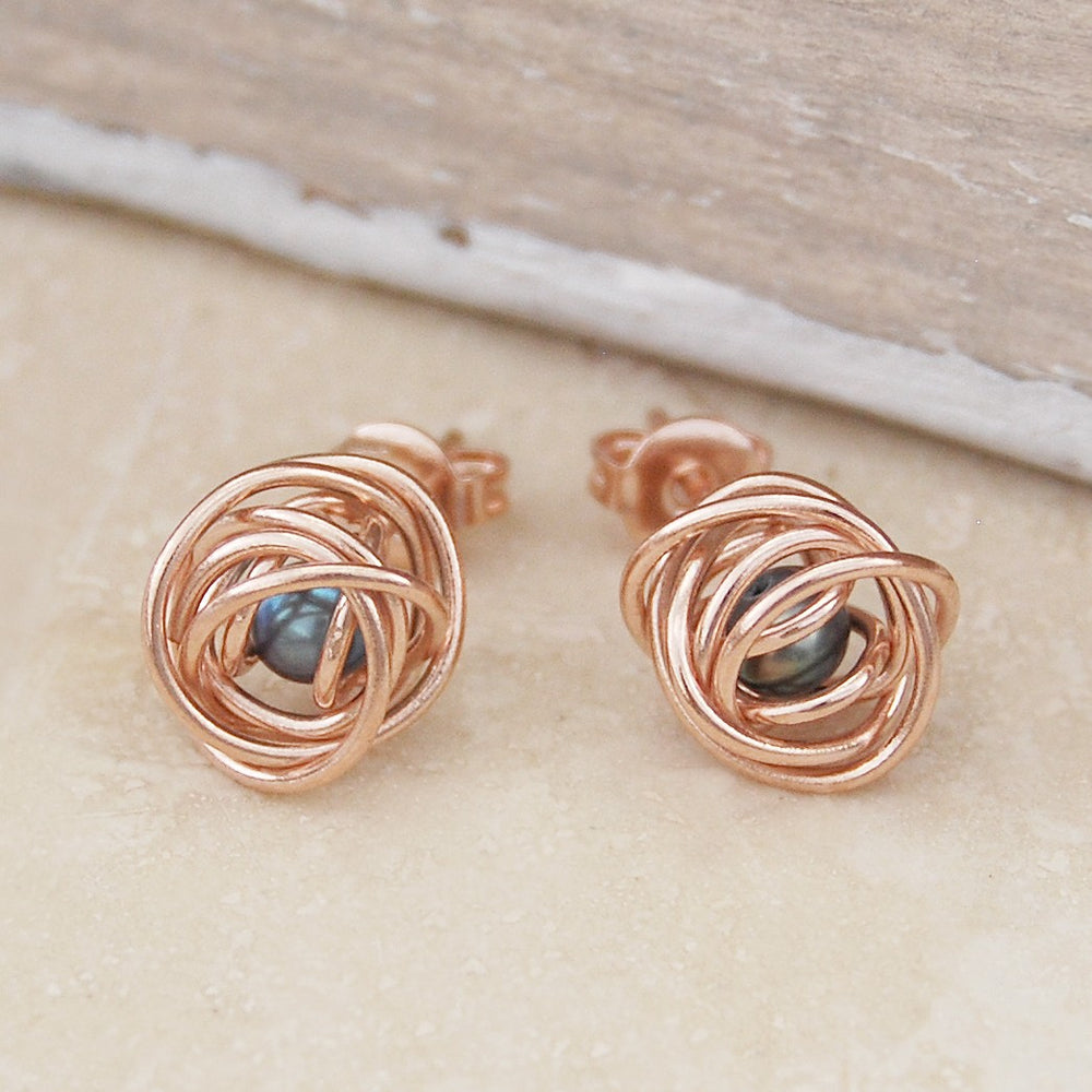 Rose Gold Caged Dark Pearl Stud Earrings. - Otis Jaxon Silver Jewellery