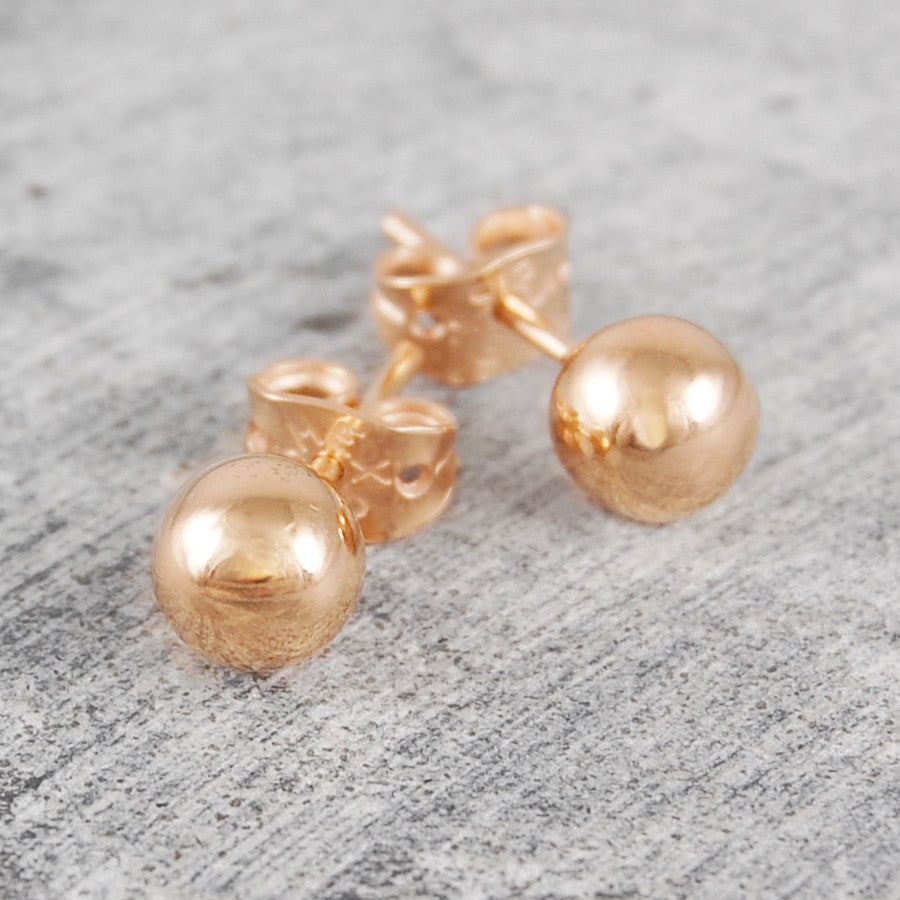 Large Rose Gold Ball Stud Earrings