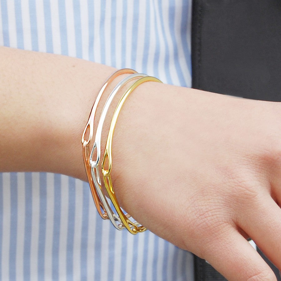Solid Silver and Gold Bar Bangles