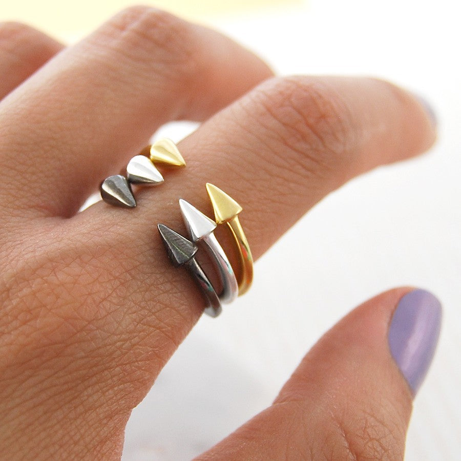 Spiky Silver Stacking Ring-Otis Jaxon Silver Jewellery