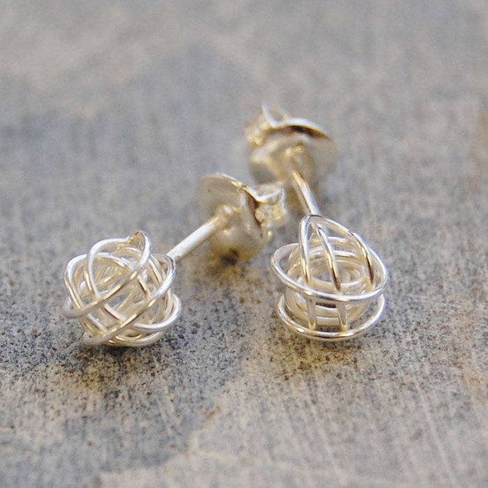 Tiny Nest Silver Stud Earrings