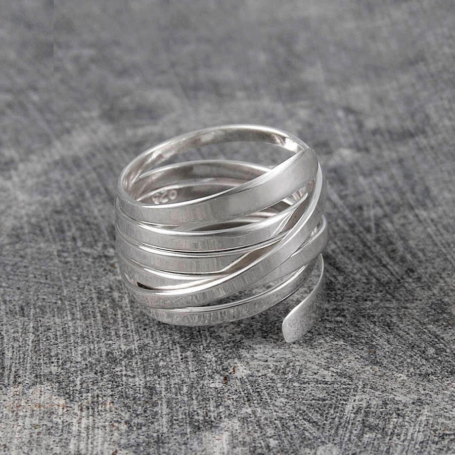 Ribbon Contemporary Silver Ring