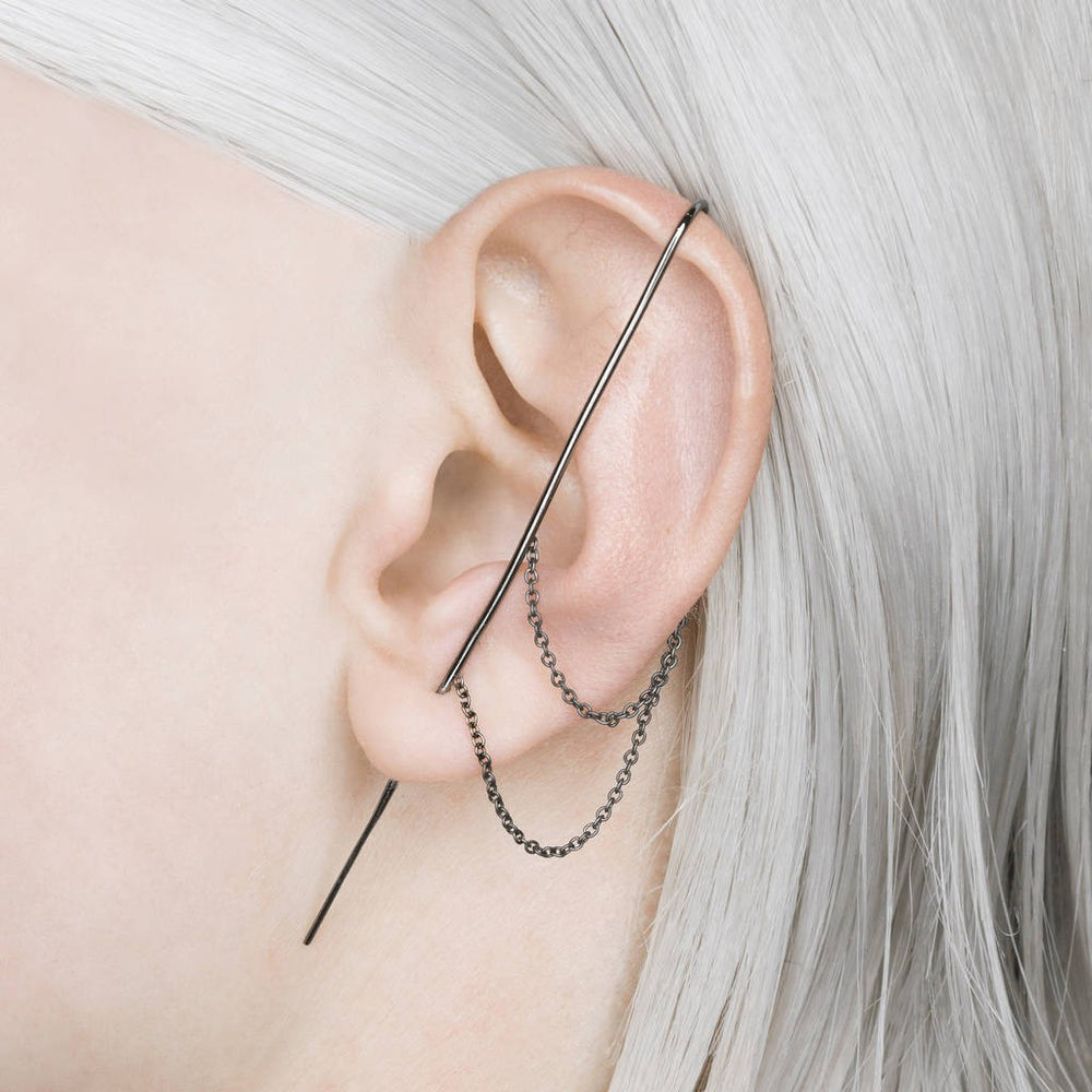 Black Oxidised Silver Double Chain Ear Cuff Earrings