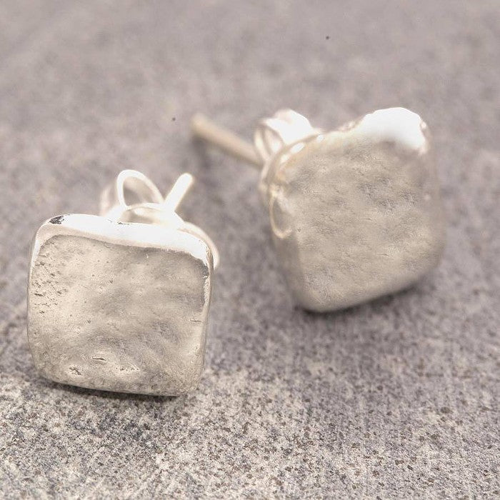Organic Square Silver Stud Earrings