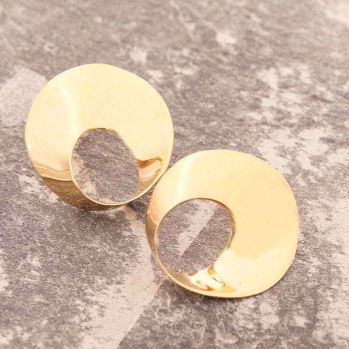 Swirl Gold Stud Earrings-Otis Jaxon Silver Jewellery