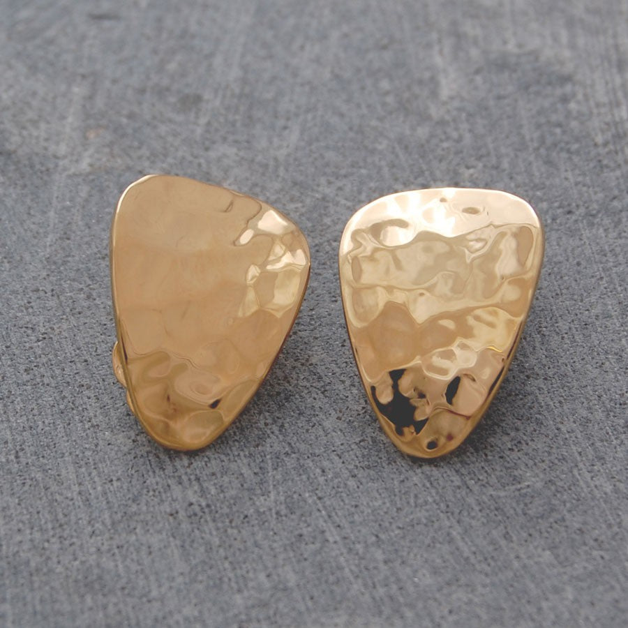 Textured Petal Gold Clip On Earrings