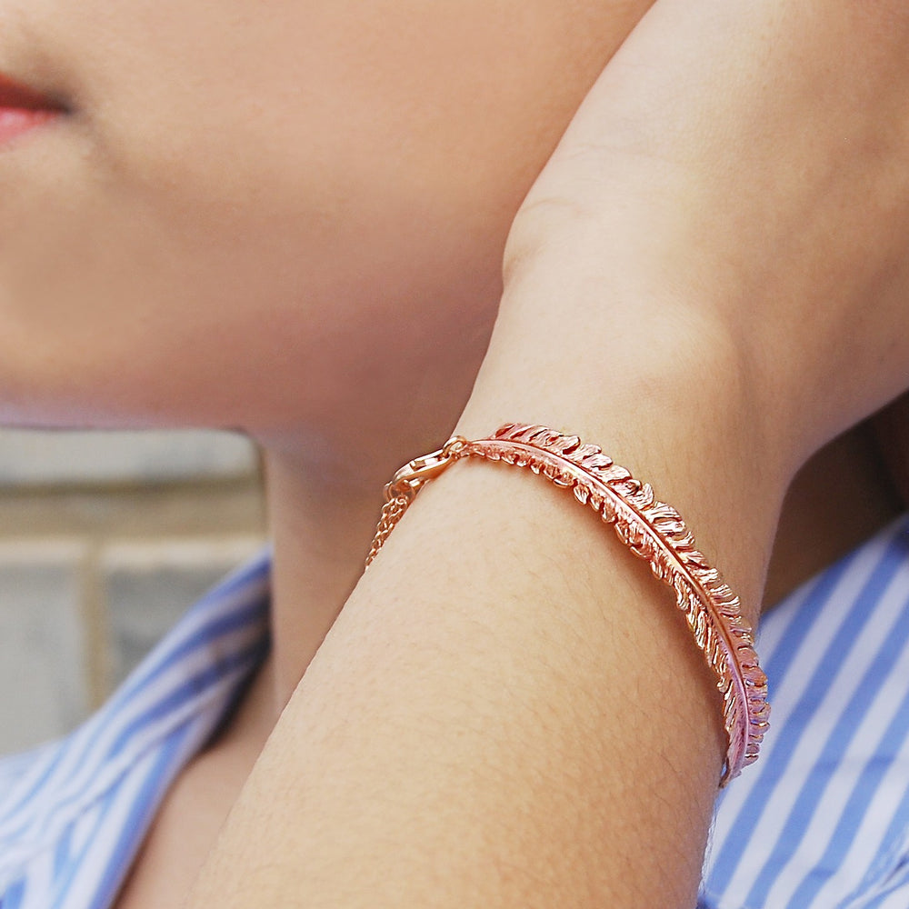 Fern Rose Gold Bracelet - Otis Jaxon Silver Jewellery