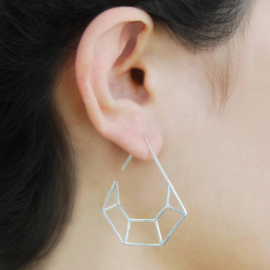 Diamond Geometric Hoop Earrings - Otis Jaxon Silver Jewellery