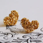 Mesh Heart Gold Stud Earrings