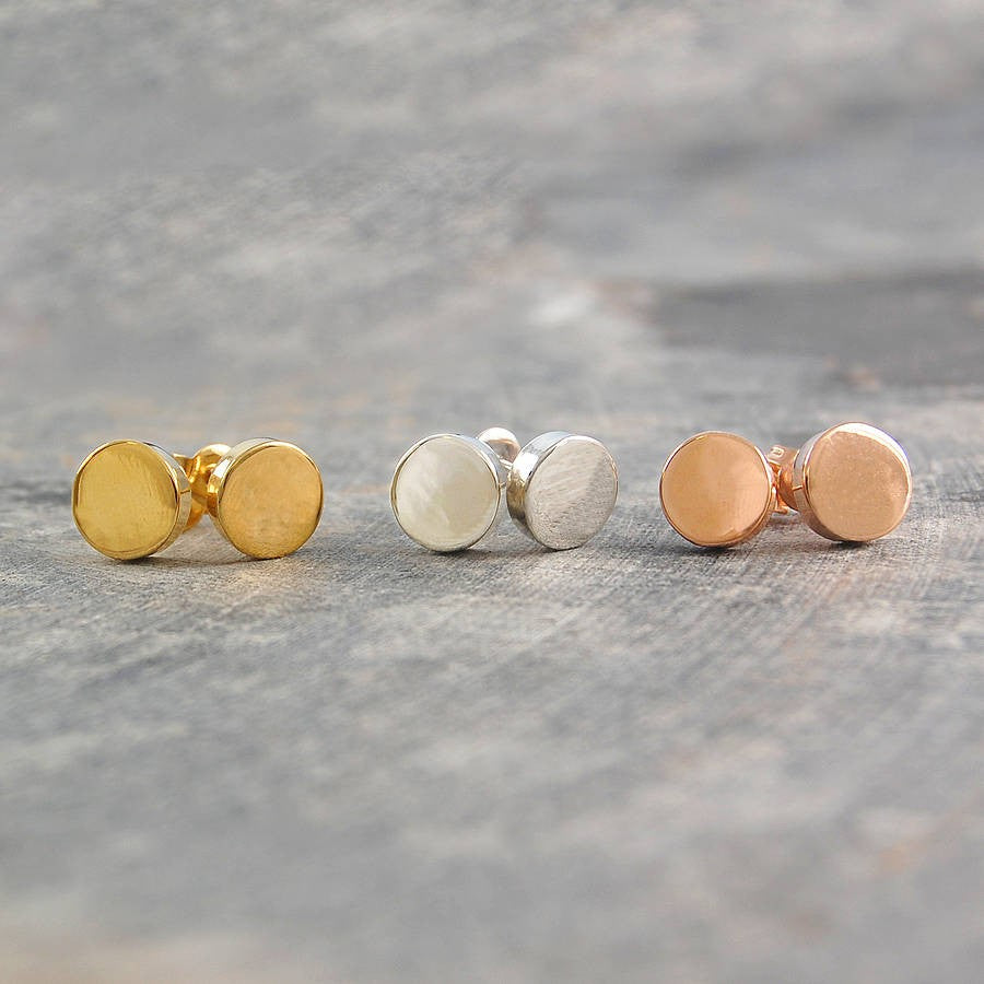 Silver and Gold Disk Stud Earrings